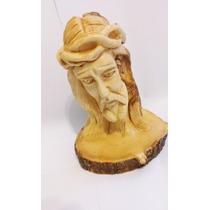 Enfeite Madeira De Rosto De Cristo- Produto Exclusivo