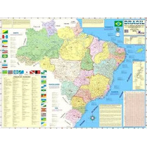Mapas Do Brasil Ou Mundo (mundi) 120x90cm - Enrolados
