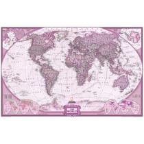 Mapa Mundi Gigante Do Mundo Cor Vinho Rosado - Sedex Grátis