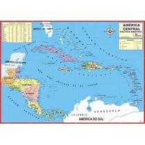 Mapa Geo Político Do Continente América Central 1,20 X 0,90m