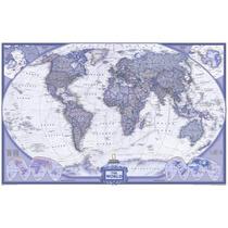 Mapa Mundi Gigante Do Mundo Cor Azul Violeta - Sedex Grátis