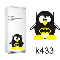 Adesivo K433 Adesivo Pinguim De Geladeira Pinguim Batman