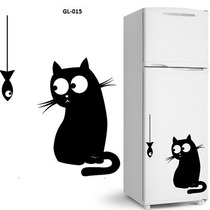 Adesivo Decorativo De Geladeira Gato E Peixe Cozinha Freezer