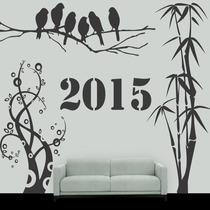 Adesivo Parede Decorativo Notas Musicais Floral Galhos Bambu