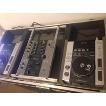 Kit Pioneer Com Par De Cdj 200 + Case Novo