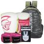 Kit Boxe Pretorian 10oz Branco E Pink + Mochila Top 2