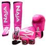 Kit Muay Thai Boxe Naja Frete Grátis - Rosa - 10oz