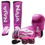 Kit Muay Thai Boxe Naja Frete Grátis - Rosa - 14 Oz.