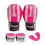Kit Feminino Boxe Muay Thai Luva 10 + Bandagem Rosa