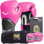 Kit Boxe Everlast Bolsa + Luva + Band + Bucal - 12oz Rosa