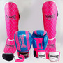 Kit Feminino Muay Thai Full Luva - Caneleira - Bucal - Band.