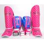 Kit Feminino Muay Thai Luva 10+ Caneleira + Bandagem + Bucal