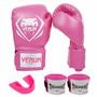 Luva De Boxe Contender - Rosa - Venum + Bucal + Bandagem Kit