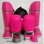 Kit Feminino Muay Thai Luva + Caneleira P + Bandagem + Bucal