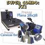 Kit 7x1 Sublimaçao Prensa Plana 38x38 + Prensa Canecas 6x1