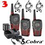 3 Radios Comunicadores Cobra 45km Cxt545 Talkabout Com Fone