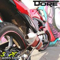 Escape Ponteira Alumínio Dore + Curva Inox Cb 300 R Vermelho