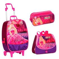 Kit Mochila Barbie Pop Star + Lancheira+ Estojo 3 Divisões