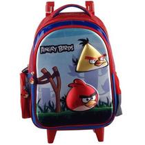 Mochila Infantil C/ Rodinhas Angry Birds Vermelho Santino