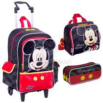 Kit Infantil C/ Mochilete, Lancheira, Estojo Sestini Mickey