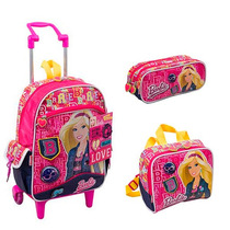 Kit Mochila Barbie Rodinhas G + Lancheira+ Estojo