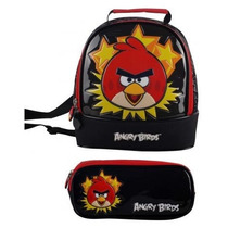 Lancheira E Estojo Escolar Angry Birds Red Santino