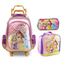 Mochila Infantil Rodinhas Princesas Disney +lancheira Estojo