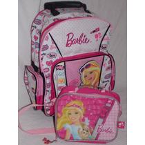 Bolsa Mala Com Rodinhas + Lancheira Barbie Grande Mattel