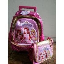 Mochila Escolar C Rodinhas+bolsa Princesas Magicas Linda