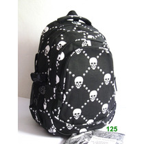 Mochila Escolar /notebook Caveiras,punk,rock-pronta Entrega