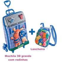 Mochila Backyardigans Azul G Rodinhas Triplas+lancheira Kit