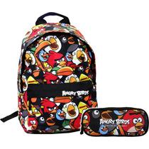 Kit Angry Birds Color Mochila Juvenil De Costas + Estojo