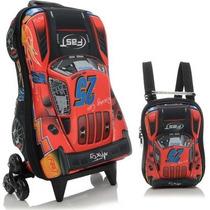 Mochila Infantil C/ Rodinhas 3d + Lancheira Maxtoy V8 Fast