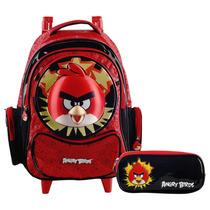 Kit Angry Birds Mochila C/ Carrinho G + Estojo Ref 503103