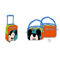 Kit Mochila Carrinho E Lancheira Do Mickey Importado Europa