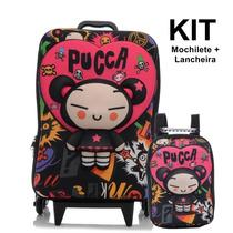 Kit Mochilete 3d + Lancheira Pucca Punk Love - Max Toy