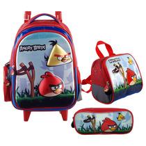 Kit Angry Birds Mochilete Tam. G Eva 3d + Lancheira E Estojo