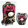 Mochila Infantil C/ Rodinhas 3d + Lancheira Pucca Max Toy