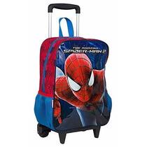 Mochila Rodinhas Spiderman Homem Aranha G + Lancheira Estojo