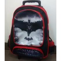 Mochila Escolar Menino De Rodinhas Batman- Estampa De Cetim