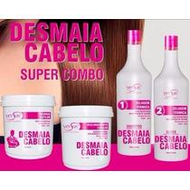 Kit Completo Desmaia Cabelo-escova+realinhamento+ Tratamento