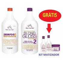Escova Gloss Platinum Blond New Liss S/formol+kit De Brinde