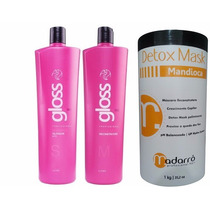 Kit Fox Gloss Escova Progressiva + Detox Mask Mandioca 1kg