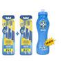 Kit 4 Escovas Dentais Pro Saude + Squeeze