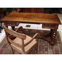 Escrivaninha Com Cadeira Em Carvalho - Perfeita