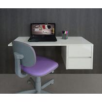 Escrivaninha Suspensa Mesa P/ Computador E Notebook - Branca