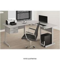 Mesa Em L Para Computador E Acessórios - Cor Cinza Multivi