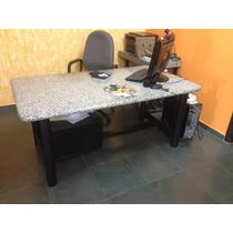 Mesa Escritório Retangular Com Tampo De Granito