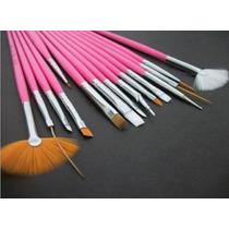 Kit Com 15 Pincéis Para Decoração De Unhas - Rosa + Brinde