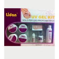 Kit Completo Gel Uv Profissional Tips Top Coat Lixa Pincel